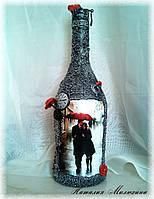 """Декор бутылок на 14 февраля день влюбленных """"Двое под зонтом"""" Ручная работа, фото 1"""