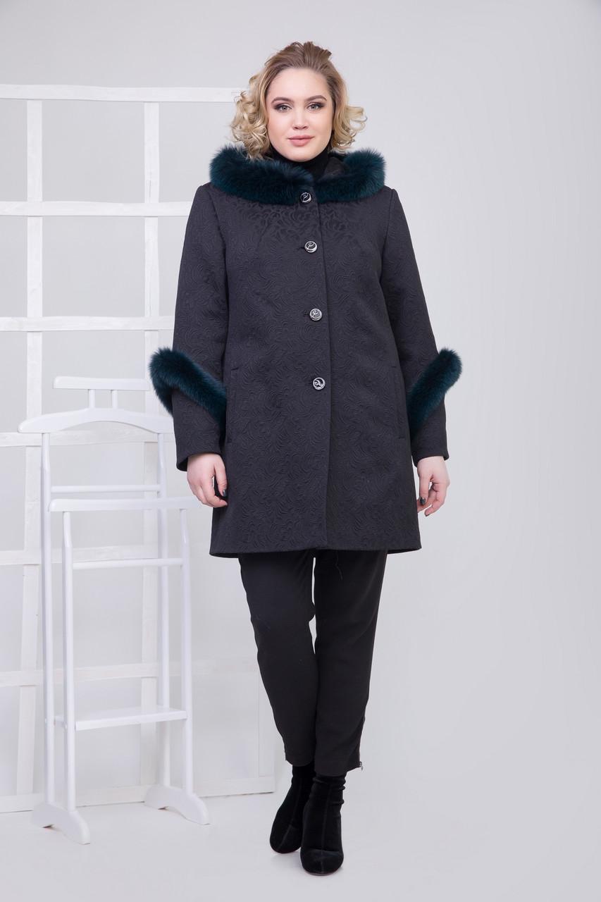 Пальто 111Н Черный + зеленый