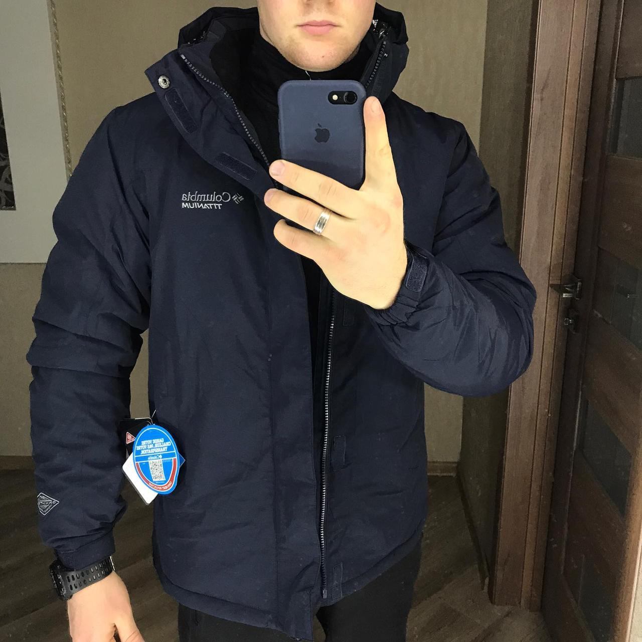 Мужская зимняя куртка Columbia Titanium темно-синяя