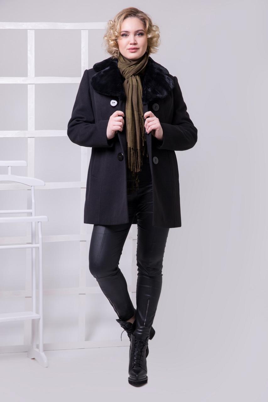 Женское пальто черного цвета 1-088