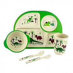 Детская бамбуковая посуда 3 в 1 Динозавры (зеленый)