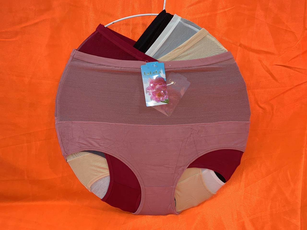 Трусы хлопок утяжка с сеткой 50-54рр, Один цвет в упаковке