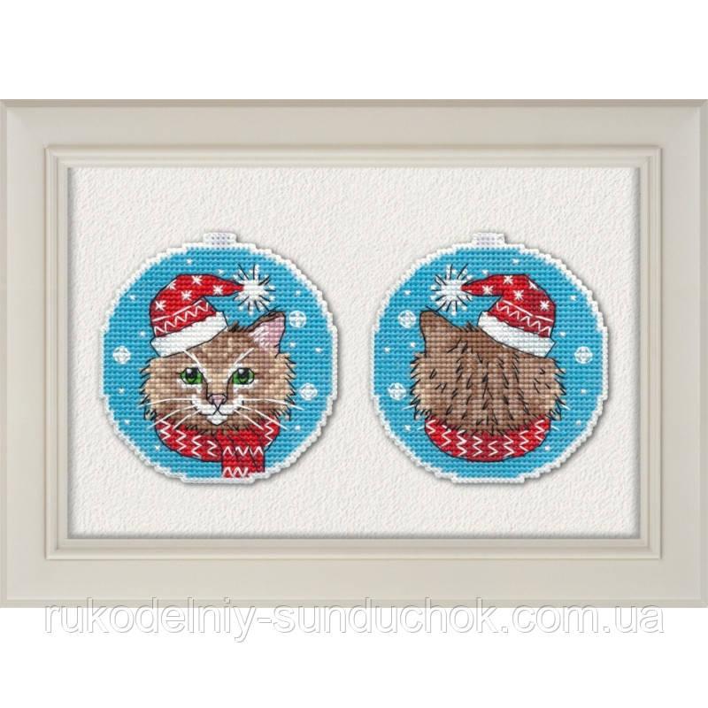 """Набор для вышивки крестом на пластиковой основе ТМ Овен """"Новогодний кот"""" 1136"""