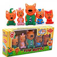 Детский игровой набор фигурок «Три кота» - 5 фигурок, резина, пищалка, PT3014, фото 1
