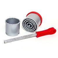 Набор корончатых сверл для плитки 5 ед. 33-83 мм, вольфрамовое напыление + напильник и чемодан INTERTOOL SD-04