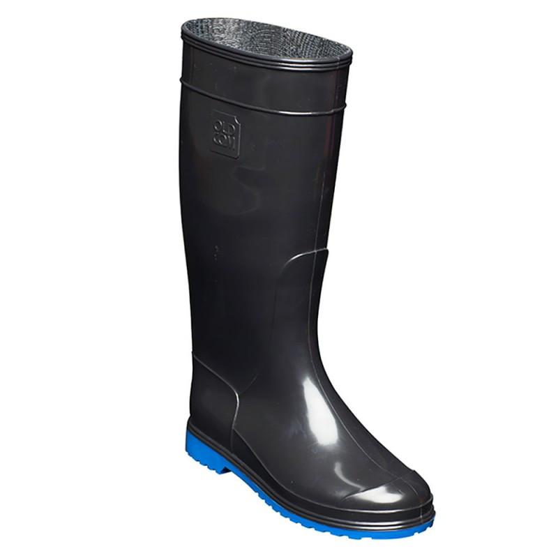 сапоги резиновые женские черные на синей подошве