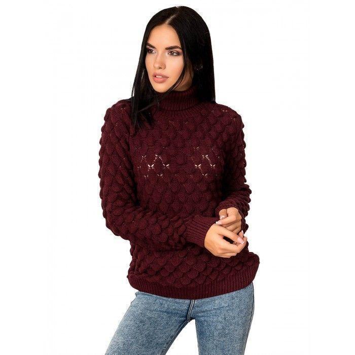 Ажурный модный свитер бордовый 42-46 размер