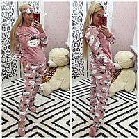 Женский теплый домашний костюм (махровая пижама), фото 1