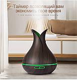 Стильный ультразвуковой увлажнитель воздуха  KBAYBO  400 мл 7 цветов подсветки 14W пульт темное дерево, фото 2
