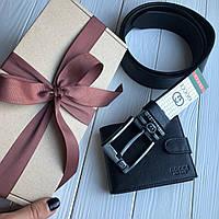 Подарочный набор для мужчин Gucci ремень и кошелек кожа (реплика)