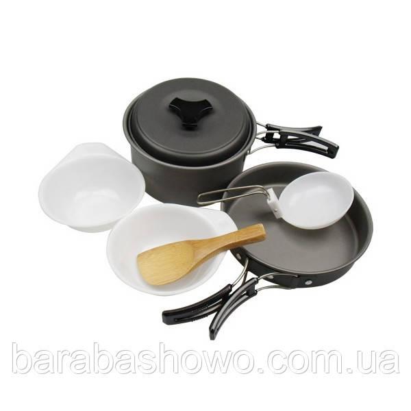 Туристический набор посуды DS-200 на 1-2 человек (походный, анодированный алюминий)