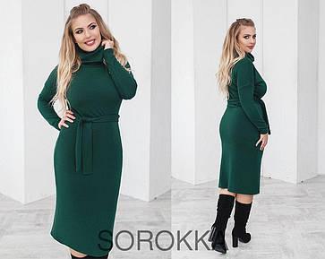 Стильное женское платье  из ангоры полу приталенного силуэта 48-70 размер зелёное, фото 2