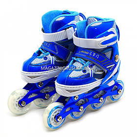 Детские ролики (размер 30-33, металл, колёса ПУ) Синий RS17023