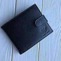 Мужской кожаный кошелек Armani черный (реплика)
