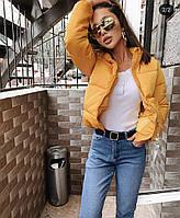 Женская модная короткая куртка на молнии с высоким воротом, фото 1