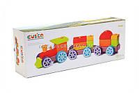 Дитячий дерев'яний конструктор поїзд Cubika(Кубики) 12923. Дерев'яні еко іграшки, фото 2