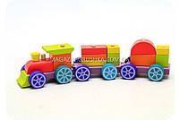 Дитячий дерев'яний конструктор поїзд Cubika(Кубики) 12923. Дерев'яні еко іграшки, фото 3