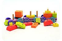 Дитячий дерев'яний конструктор поїзд Cubika(Кубики) 12923. Дерев'яні еко іграшки, фото 4