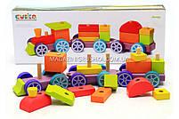 Дитячий дерев'яний конструктор поїзд Cubika(Кубики) 12923. Дерев'яні еко іграшки, фото 5