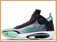 Мужские высокие кроссовки Nike Air Jordan XXXIV Blue Void (найк аир джордан 34, голубые / белые / черные)