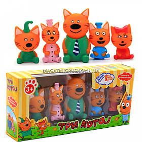 Дитячий ігровий набір фігурок «Три кота» - 5 фігурок, гума, пищалка, PT3014