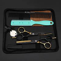 Mr. Tiger 5,5 дюймов парикмахерские ножницы для стрижки комплект черный с золотом Japan