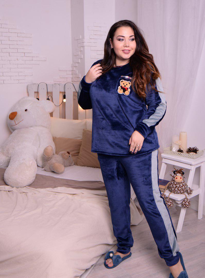 Тёплая женская пижама из плюшевой махры синего цвета с 48 по 82 размер