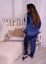 Тёплая женская пижама из плюшевой махры синего цвета с 48 по 82 размер, фото 3