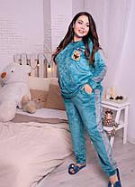 Тёплая женская пижама из плюшевой махры синего цвета с 48 по 82 размер, фото 2