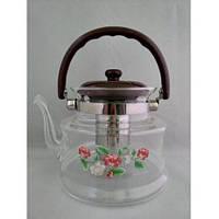 Чайник заварник стеклянный 1600 мл., фото 1