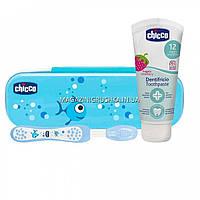 Дорожный набор: зубная щетка, зубная паста chicco Голубая 06959.00