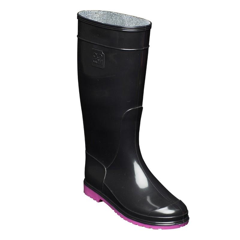сапоги резиновые женские черные на розовой подошве
