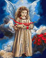"""VP 432 """"Ангел с Рождественским подарком"""" Роспись по номерам на холсте 40х50см"""