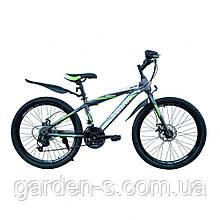 Велосипед Spark 24`` SKILL, рама - Сталь 15, Серый с зеленым, Да