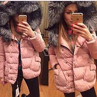 Куртка зимняя с мехом, соостав синтепон 200, Розовый, белый, черный, персиковый, мех натурал ля .№ Прованс