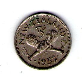 Новая Зеландия 3 пенни 1952 год Георг VI №28
