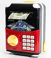 🔝 Игрушечный детский сейф с электронным кодовым замком для детей, Супергерои Бетмен, копилка детская | 🎁%🚚