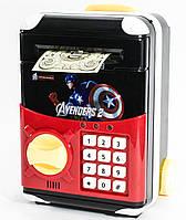 🔝 Игрушечный детский сейф с электронным кодовым замком для детей, Супергерои Капитан Америка, копилка | 🎁%🚚