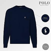 Мужская Толстовка Polo Ralph Lauren Reglan Sweatshirt Легкий Стильный Мужской Темно-синий Батник Поло
