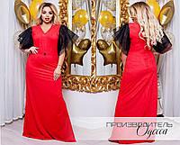 Роскошное вечернее платье в пол из стрейч-замши батал с 50 по 60 размер