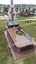 Пам'ятник хрест комбінований із червоного граніту