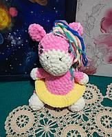 Пони девочка вязанная игрушка, размер 24 см, антистресс, холлофайбер