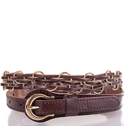 Женский плетёный кожаный ремень ETERNO (ЭТЕРНО) ETS278-10 темно-коричневый