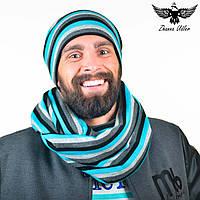 Яркий набор в полоску: шарф-снуд + шапка. unisex, фото 1