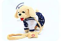 Интерактивная мягкая игрушка «Собачка с поводком» бежевая 555-118, фото 1