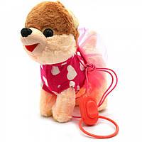 Интерактивная мягкая игрушка «Щенок на поводке 4», ходит, виляет хвостом, лает, поет на англ, 23 см (M667), фото 1