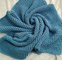 Плед плюшевый детский размер 88*90 см, цвет сине-серый
