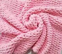 Детский плюшевый плед размер 80*95 см, цвет розовый, ручная вязка