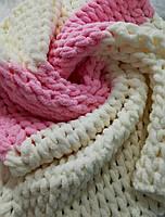 Плед детский плюшевый размер 80*90 см, двухцветный молочно-розовый, ручная вязка