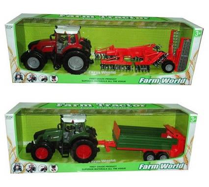 Трактор инерц. 8033-10/11 (6шт) с прицепом,2 вида в коробке 80см
